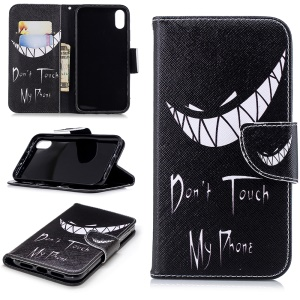 For iPhone XR 6.1 inch Pattern Printing PU Leather Protection Cell Phone Case - Don't Touch My Phone