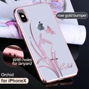 KINGXBAR Authorised Swarovski Diamond Plated Hard PC Phone Case for iPhone X - Orchid Butterfly / Rose Gold Bumper