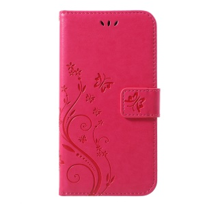 Imprint Butterfly Flower Stand Wallet Leather Shell Case for iPhone XR 6.1 inch - Rose