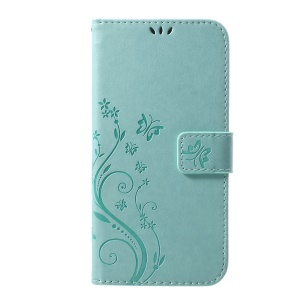 For iPhone XS Max 6.5 inch Imprint Butterfly Flower Stand Wallet Leather Cellphone Case Cover - Cyan