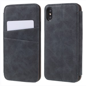 Retro Style Stand Card Holder PU Leather Cover for iPhone X/XS  5.8 inch - Grey