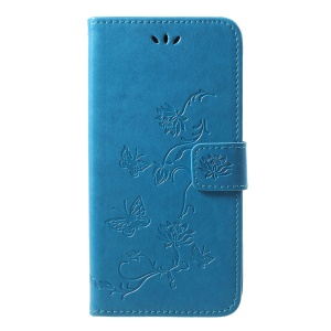 Imprint Butterfly Flower Wallet Stand Leather Cellphone Cover for iPhone XS Max 6.5 inch - Blue