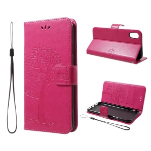 Imprint Tree Owl Wallet PU Leather Case with Lanyard for iPhone XS Max 6.5 inch - Rose
