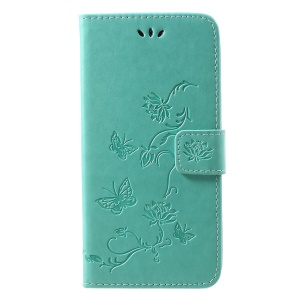 For iPhone XR 6.1 inch Imprint Butterfly Flower Wallet Stand Leather Mobile Case - Cyan