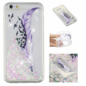 Pattern Printing Dynamic Glitter Powder Sequins TPU Cover for iPhone 8 / 7 - Feather and Bird