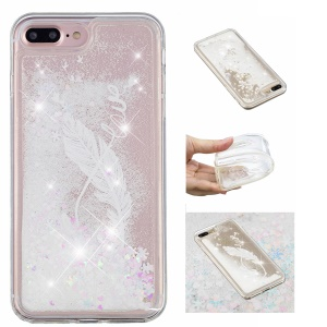 Dynamic Glitter Powder Heart Shaped Sequins TPU Cover Shell for iPhone 8 Plus / 7 Plus - White Quill Pen