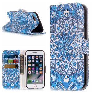 Pattern Printing Cell Phone Leather Wallet Case for iPhone 8/7 - Blue Flower