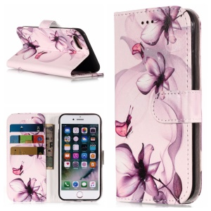 Pattern Printing PU Leather Wallet Case for iPhone 8/7 - Flower Pattern