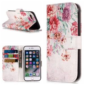 Pattern Printing Leather Stand Cover with Card Slots for iPhone 8/7 - Vivid Flowers