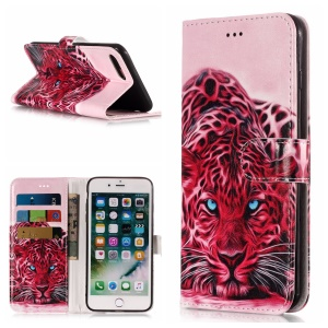 Pattern Printing Wallet Leather Stand Case for iPhone 8 Plus / 7 Plus - Leopard Pattern