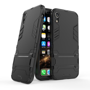 Cool Guard Plastic TPU Hybrid Phone Case with Kickstand for iPhone 9 - Black