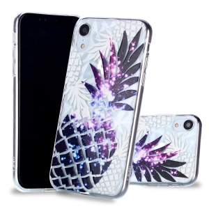 For iPhone XR 6.1 inch Embossed Flower Pattern 3D Diamond Surface TPU Mobile Cover - Purple Pineapple