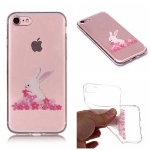 Pattern Printing IMD Soft TPU Casing for iPhone 8/7 4.7 inch - Rabbit and Flower