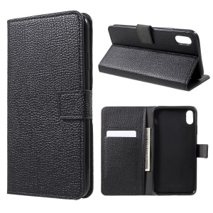 Litchi Skin Wallet Leather Stand Case for iPhone XR 6.1 inch - Black
