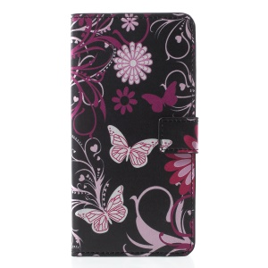For iPhone XR 6.1 inch Patterned Leather Stand Wallet Folio Accessory Case - Butterfly Flower