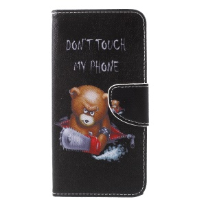 Cross Texture Patterned Wallet Leather Mobile Phone Casing for iPhone XS Max 6.5 inch - Angry Bear
