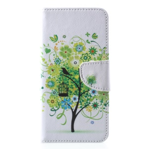 Cross Texture Patterned Wallet Leather Case Accessory for iPhone XS Max 6.5 inch - Green Tree