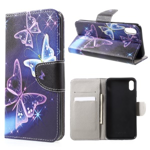 Pattern Printing Wallet Stand PU Leather Protector Shell for iPhone XR 6.1 inch - Beautiful Butterfly