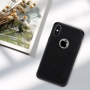 MOFI Bright Shield Series Hybrid Case (with Cutout for Showing Apple Logo) for iPhone X - Black