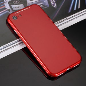 Baking Finish Magnetic Attraction Plastic Frame + Tempered Glass Back Mobile Phone Case for iPhone 8 / 7 4.7 inch - Red