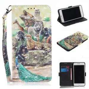 Patterned Wallet Stand PU Leather Flip Case for iPhone 8 Plus / 7 Plus - Animals Getting Together