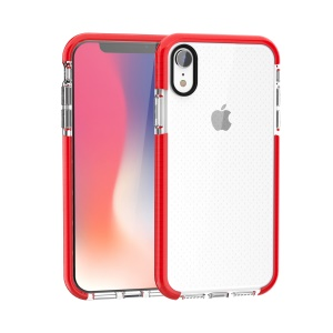 For iPhone XR 6.1-inch Seamless Dots TPU Gel Mobile Case - Red / Transparent
