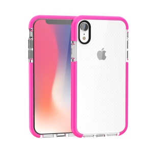 For iPhone XR 6.1-inch Seamless Dots TPU Gel Cell Phone Casing - Rose / Transparent