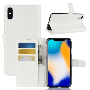 Litchi Texture Wallet Stand Leather Protective Phone Cover for iPhone XS Max 6.5 inch - White
