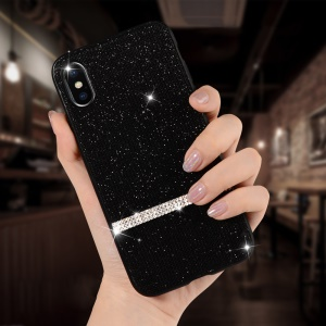 SULADA Shiny Star Series Rhinestone Decoration Flash Powder Coated TPU Case for iPhone XS/X 5.8 inch - Black