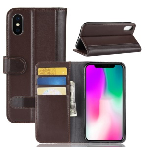 Genuine Split Leather Wallet Stand Phone Cover for iPhone XR 6.1 inch - Coffee
