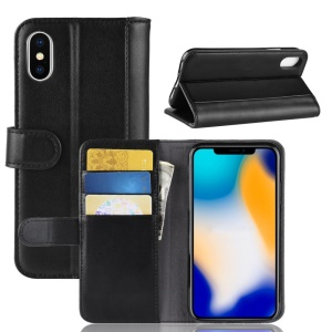 Genuine Split Leather Wallet Stand Phone Case for iPhone XS Max 6.5 inch - Black