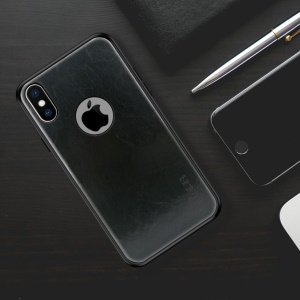MOFI PU Leather Coated PC + TPU Hybrid Phone Case (with Cutout for Showing Apple Logo) for iPhone X 5.8 inch - Black