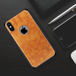 MOFI PU Leather Coated Plastic + TPU Combo Phone Case (with Cutout for Showing Apple Logo) for iPhone X 5.8 inch - Brown