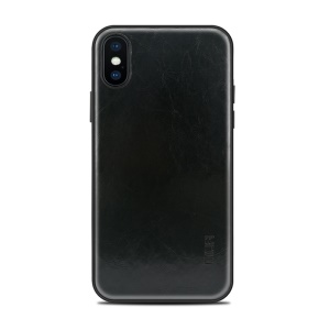MOFI PU Leather Coated PC + TPU Hybrid Phone Case (without Cutout for Showing Apple Logo) for iPhone X 5.8 inch - Black