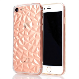 3D Diamond Grain Soft TPU Phone Cover for iPhone 8/7 4.7 inch - Transparent