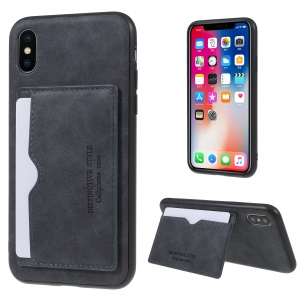 Retro Style PU leather Coated TPU Card Holder Back Casing with Kickstand for iPhone XS/X 5.8 inch - Grey