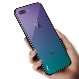NXE Pattern Printing Gradient Ramp 9H Glass Back + TPU Edge Hybrid Shell for iPhone 8 Plus / 7 Plus 5.5 inch - Purple / Baby Blue