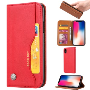 Auto-absorbed PU Leather Stand Wallet Phone Cover for iPhone XS Max 6.5 inch - Red