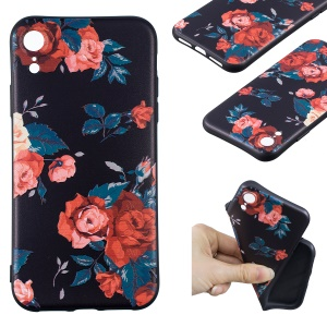For iPhone XR 6.1 inch Embossment Soft TPU Mobile Phone Cover - Roses