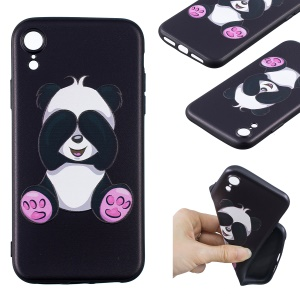 For iPhone XR 6.1 inch Embossment Soft TPU Back Cellphone Cover - Cute Panda