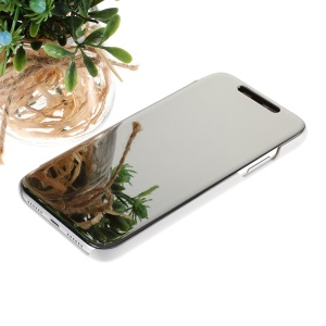 View Window Plated Mirror Surface Leather Stand Cover for iPhone XR 6.1 inch - Silver