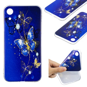 For iPhone XR 6.1 inch Pattern Printing Soft TPU Phone Case - Blue Butterfly