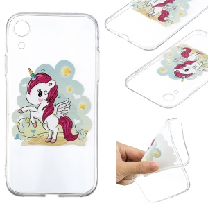 For iPhone XR 6.1 inch Pattern Printing Soft TPU Mobile Phone Case - Unicorn