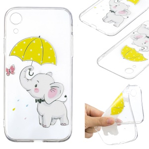 For iPhone XR 6.1 inch Pattern Printing Soft TPU Cell Phone Case - Elephant Holding an Umbrella