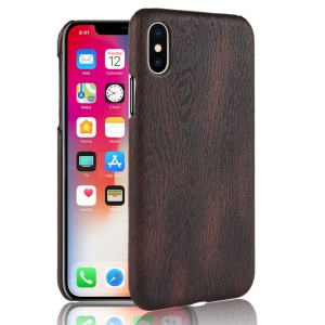 Wood Texture PU Leather Coated PC Back Mobile Phone Case for iPhone XS Max 6.5 inch - Black