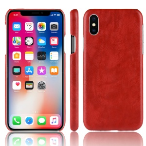 Litchi Skin Leather Coated Hard Shell Case for iPhone XR 6.1 inch - Red