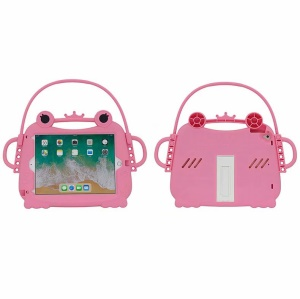 Kids Fun 3D Cartoon Frog Silicone Tablet Protection Cover with Handle and Kickstand for iPad 9.7 (2018) / 9.7 (2017) - Pink