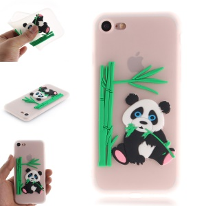 Lovely 3D Panda Eating Bamboo Pattern TPU Case for iPhone 8 / 7 4.7 inch - Transparent