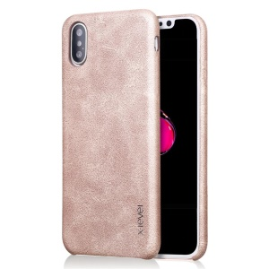 X-LEVEL Vintage Leather Skin Hard Phone Shell for iPhone XS Max 6.5 inch - Gold