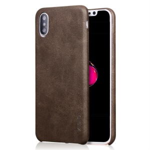 X-LEVEL Vintage Leather Skin Hard Cover Shell for iPhone XS Max 6.5 inch - Coffee